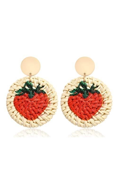 XOCARTIGE Strawberry Rattan Earrings