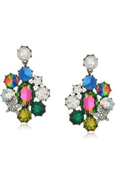 Betsey Johnson Multi-Stone Clip Drop Earrings