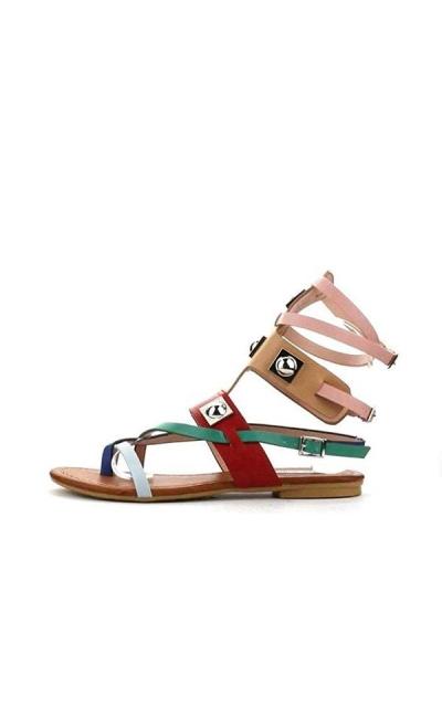 Cape Robbin Open Toe Strappy Ankle Colorblock Sandals