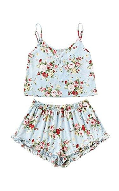 SheIn Floral Print Cami Top and Shorts Pajamas Set