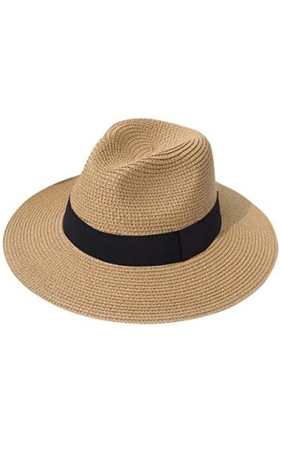 Lanzom Wide Brim Straw Panama Fedora Hat