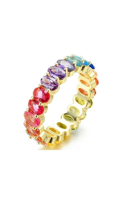 NYC Sterling Rainbow Cubic Eternity Ring