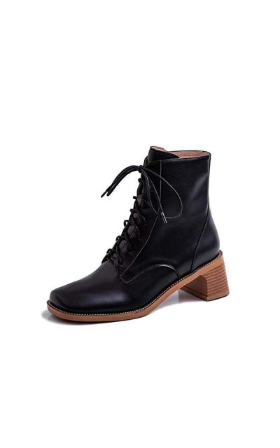 Nine Seven Square Toe Mid Chunky Heel Lace Up Boots