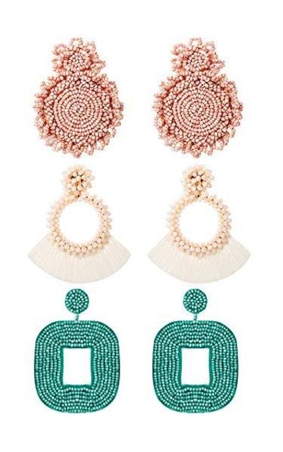 3 Pairs Statement Drop Beaded Earrings