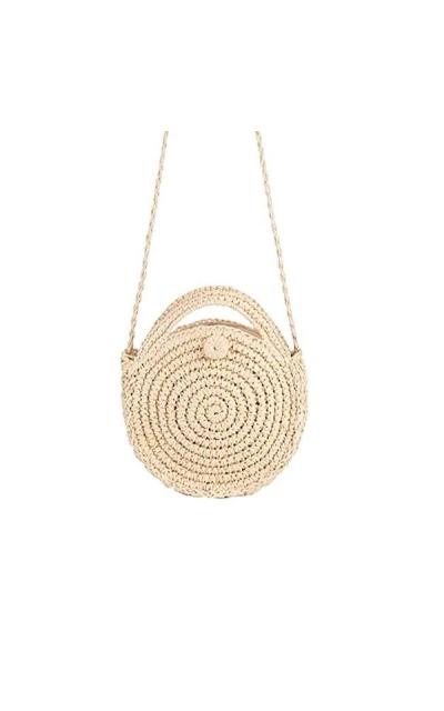 Zongsi Mini Handmade Round Straw Crossbody