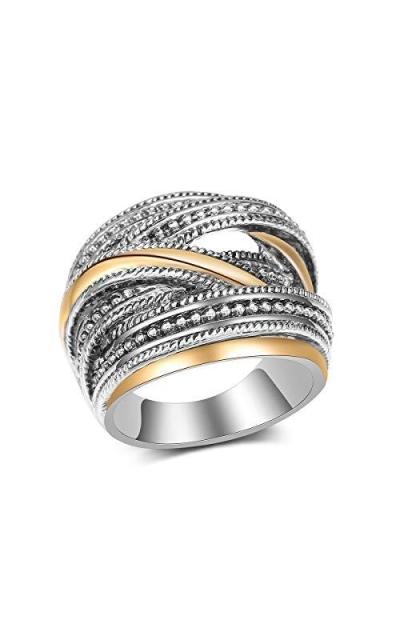 dnswez Vintage 2 Tone Punk Chunky Silver Oxidized Ring