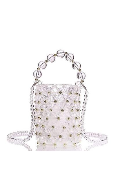 YIFEI Beaded Clear Acrylic Evening Bucket Bag