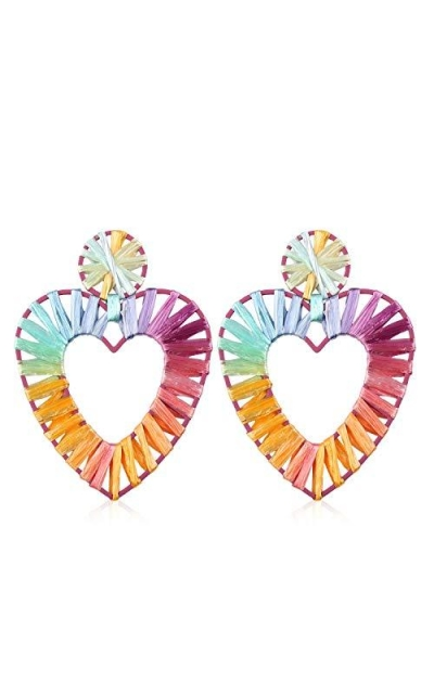 Statement Rainbow Rattan Drop Hoop Earrings