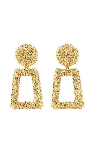 Golden Raised Design Rectangle Statement Earrings