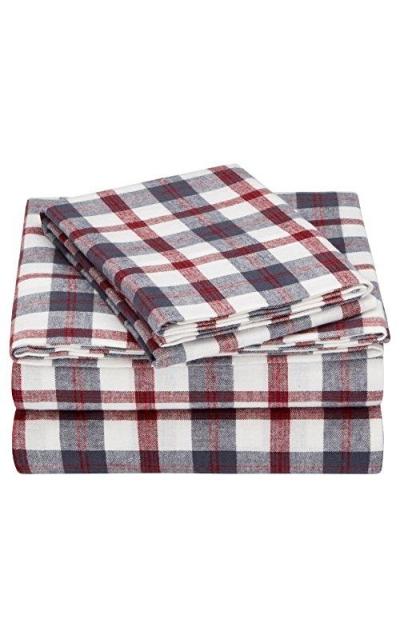 Pinzon Plaid Flannel Cotton Bed Sheet Set