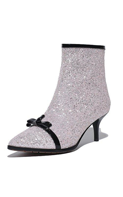 Nine Seven Patent Leather Pointed Toe Glitter Ankle Boots