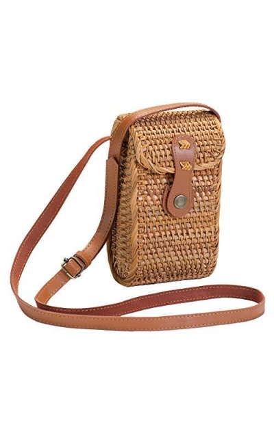 WEIVE FASHIONS Small Rattan Shoulder Cellphone Bag