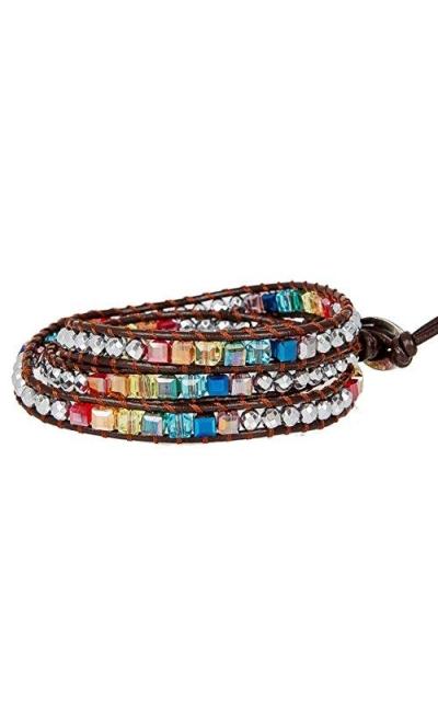 SPUNKYsoul Leather Wrap Crystal Bracelet
