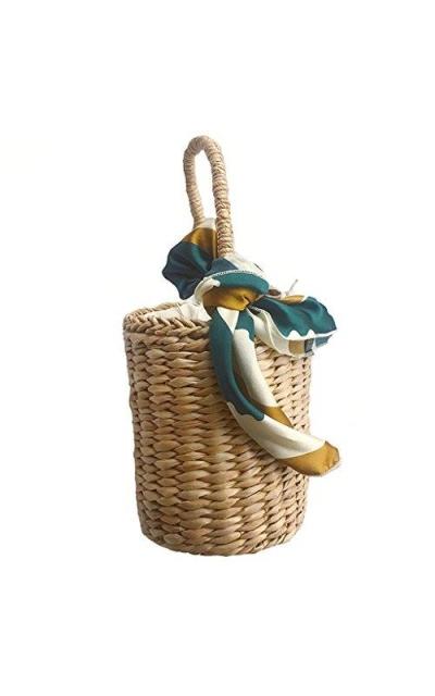Straw Woven Basket Bucket Bag