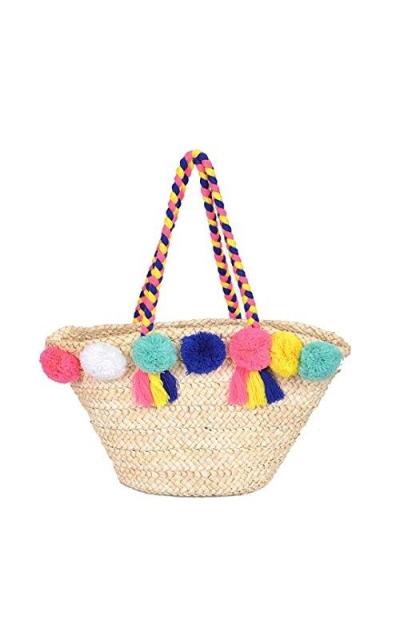 Straw Pom Pom Beach Bag