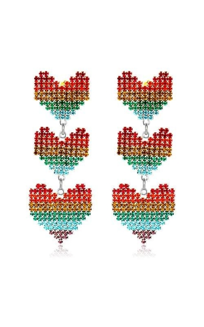 Colorful Rainbow Colorful Triple Heart Earrings