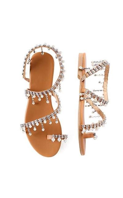 Shoe'N Tale Bohemia Rhinestone Pearl Flat Sandals