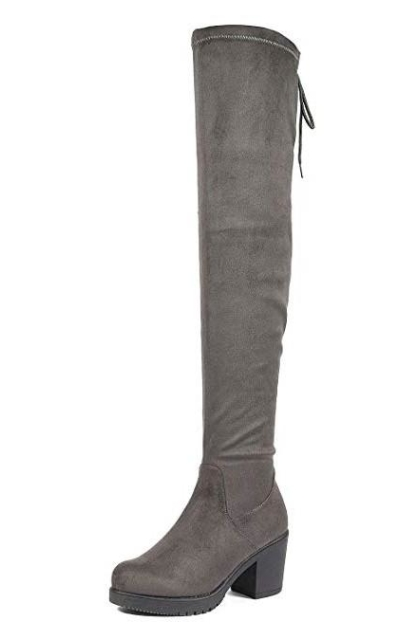 DREAM PAIRS HI_Chunk Grey Over The Knee High Boots