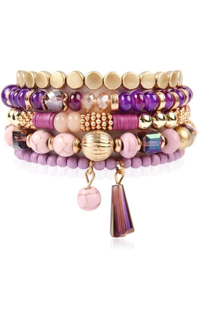 RIAH FASHION Bohemian Mix Bead Multi Layer Bracelet
