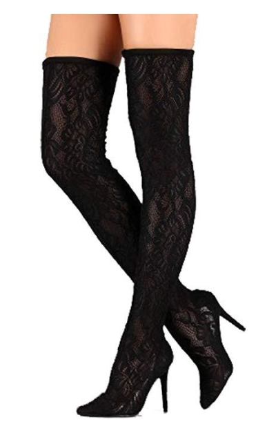 Anne Michelle Stretch Lace Over The Knee Boots