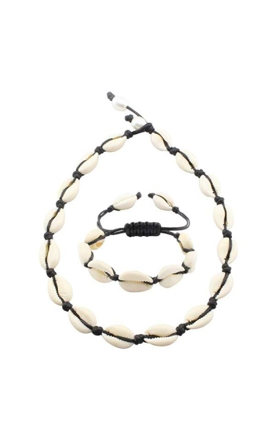 Fondgem Natural Hawaii Cowrie Shell Choker Necklace