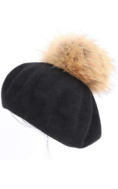 bling-bling-Fur Pompoms Beret