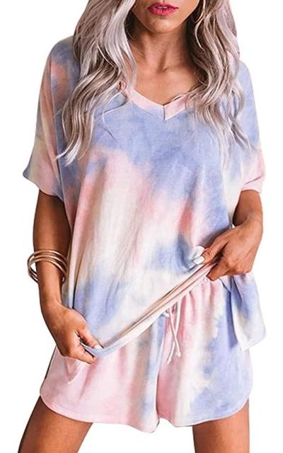 Sidefeel Tie Dye Printed  Short Sleeve Pajama Set