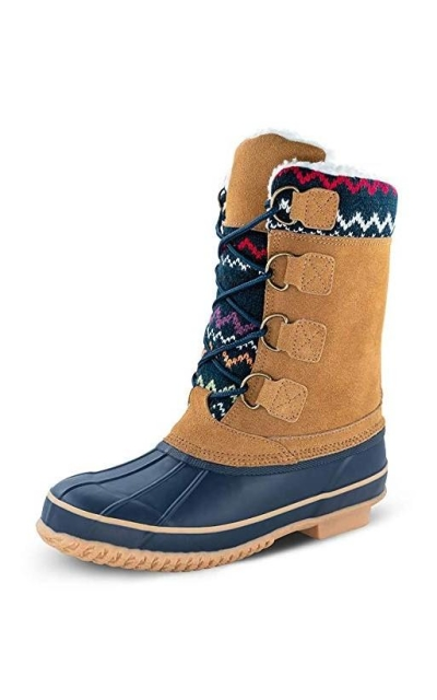 TF STAR Cow Suede Leather Lace Up Duck Boots