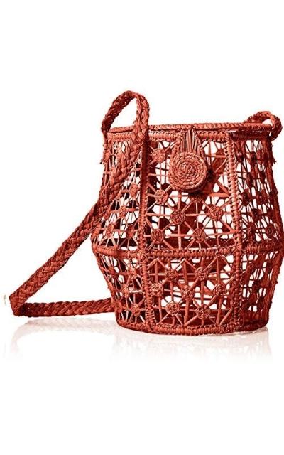 KAANAS Jerico Straw Woven Crossbody Bucket Bag