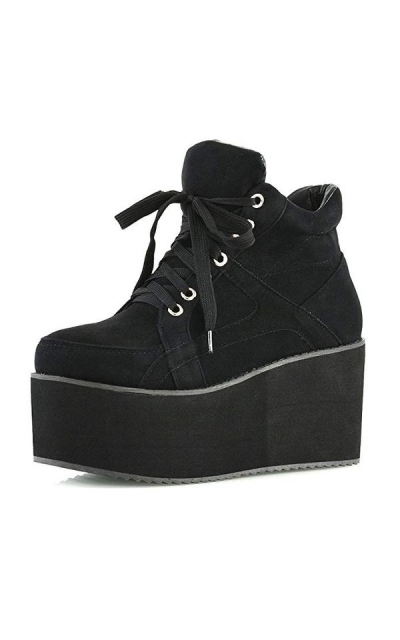 ESSEX GLAM  Synthetic Sporty Platform Lace Up Ankle Boots