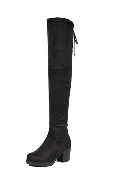 DREAM PAIRS HI_Chunk Black Over The Knee High Boots