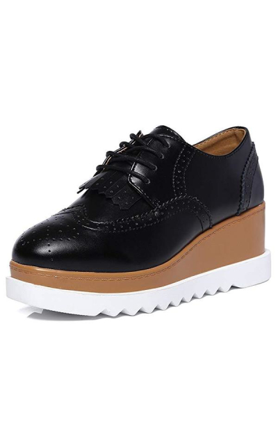DADAWEN Platform Wedge Oxford Shoes