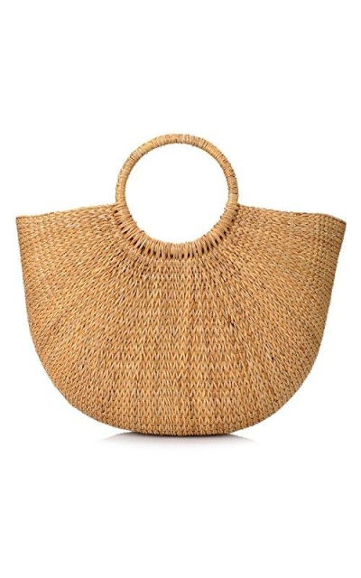 Natural Chic Hand-Woven Round Handle Tote