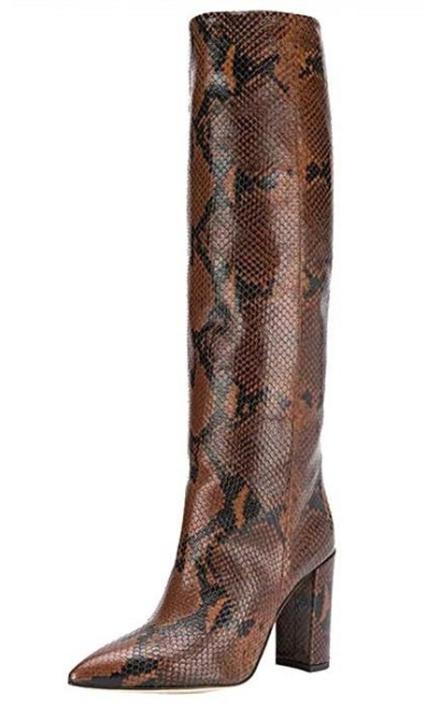 Pull On Pointed Toe Thick High Heel Snake Slouch Boots