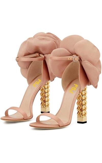 FSJ Flower Gold Metal Chain High Heels