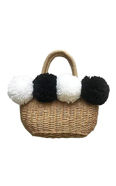 Large Pom Poms Tote Bag - Straw Bag