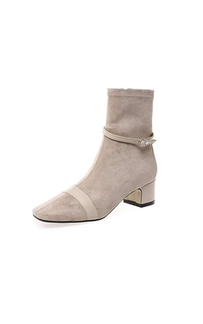Nine Seven Suede Leather Square Toe Ankle Boots