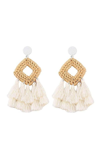 Meangel Rattan Tassel Earrings