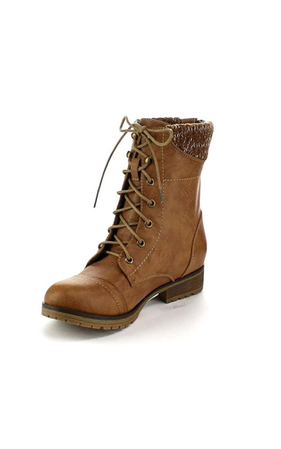 Refresh Women's Sweater Cuff Lace Up Combat Boots