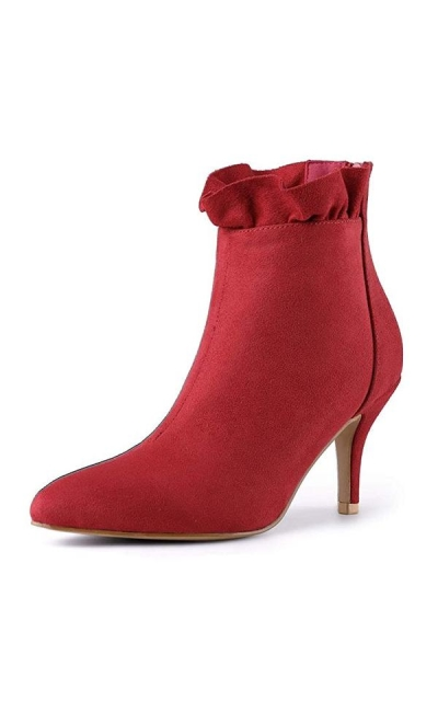 Allegra K Ruffle Ankle Boots