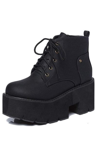 IDIFU Chunky Heels Platform Lace Up Booties