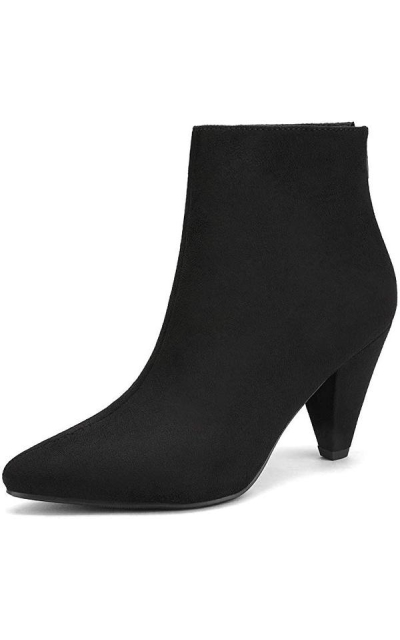 DREAM PAIRS Suede Pointed Toe High Heel Ankle Booties