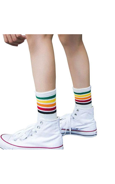 Rainbow Stripe Crew Socks
