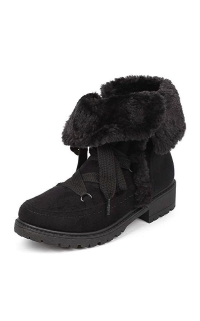 Suede Folded Zip Fur Winter Boot