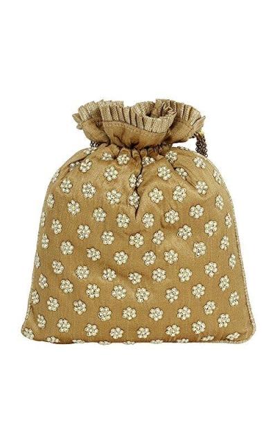 Purse Embroidery Gold Colour Potli Purse