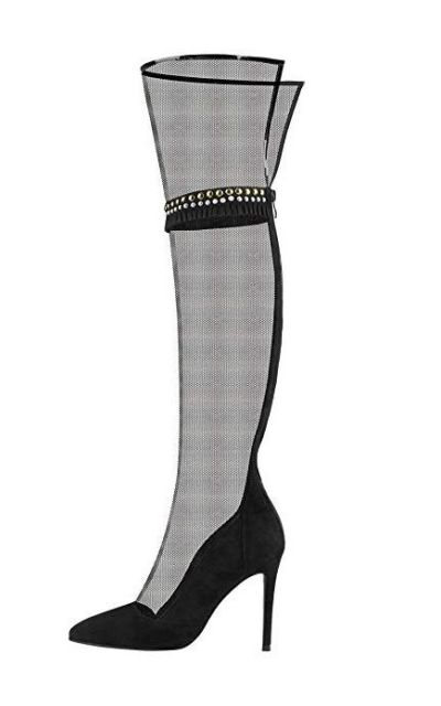 Onlymaker Sexy Over The Knee Mesh Stiletto Boot