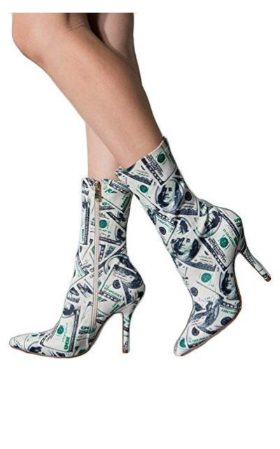 AZALEA WANG Cash Money Print Pointed Toe Stretch Sock Booties