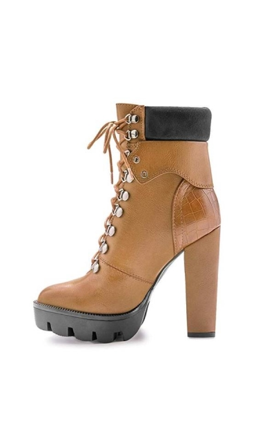 EUYZOU Lace Up Platform Ankle Boots