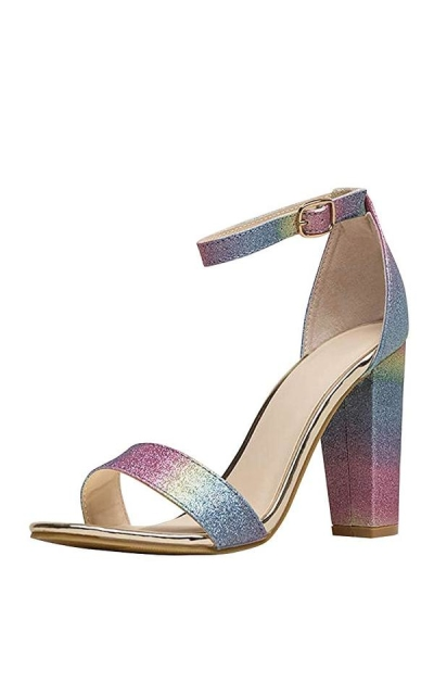 BAMBOO Iridescent Glitter Ankle Strap Sandals