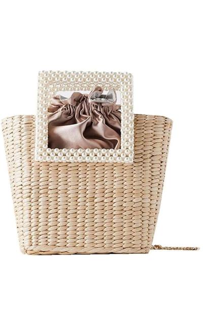 QTKJ  Pearl Tote Bags Beaded Straw Bag